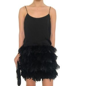 NWOT black boa feather party dress